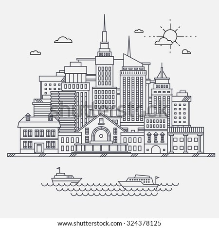 Business center of big city street skyscrapers megapolis buildings concept real estate architecture, commercial building and offices drawing in linear flat design. - stock vector