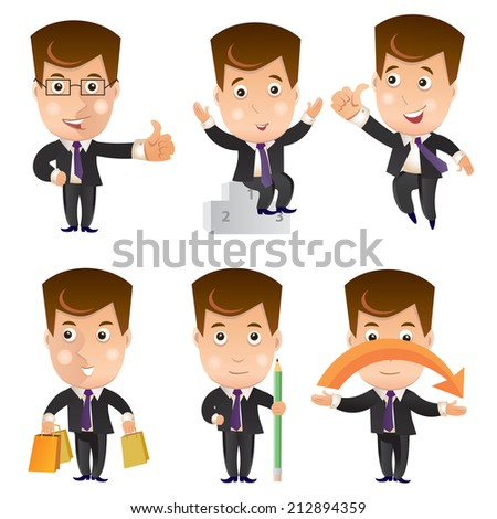 Business character icon set. Businessman - stock vector