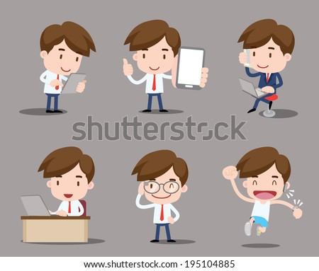 business character - mobile & wearable - stock vector