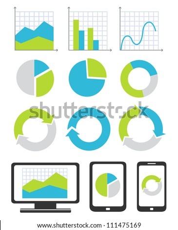 Business chart and graph icons - stock vector