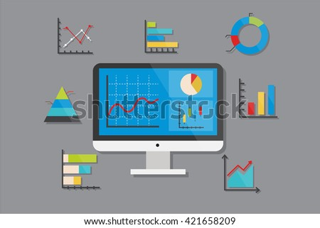 Business Chart and Graph Icons Flat Design Vector Illustration Element Icons Set - stock vector