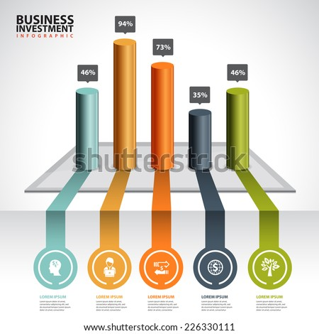 business chart and graph infographic - stock vector