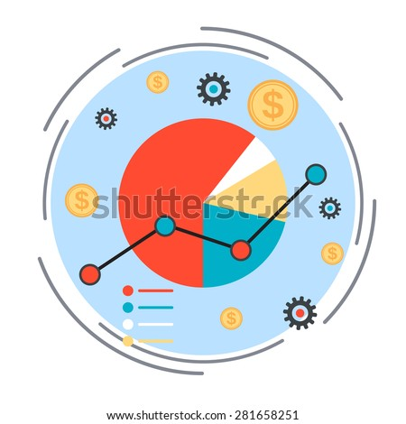 Business chart, financial statistics, market analysis concept. Flat design style vector illustration. - stock vector