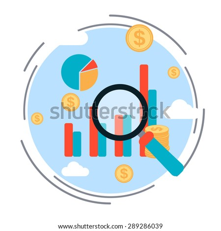 Business chart, financial statistics, market analysis, profit increase concept. Flat design style vector illustration - stock vector