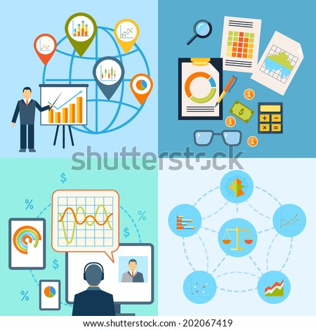 Business chart growth progress statistics icon flat composition isolated vector illustration. - stock vector