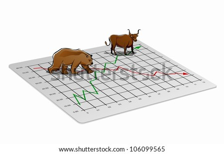 Business chart illustration with upward and downward trend for foreign exchange or stock market - stock vector