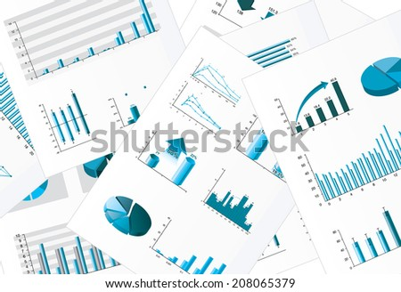 Business chart papers - stock vector