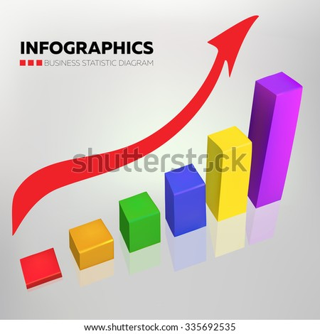 Business chart vector design in random colors with red arrow on gradient background