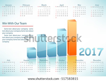 Business chart with calendar
