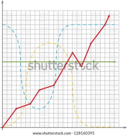 Business chart with growth curve - stock vector