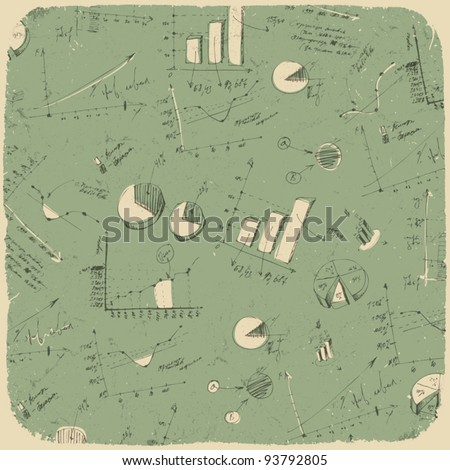 Business charts. Retro styled background, vector illustration, EpS10. - stock vector