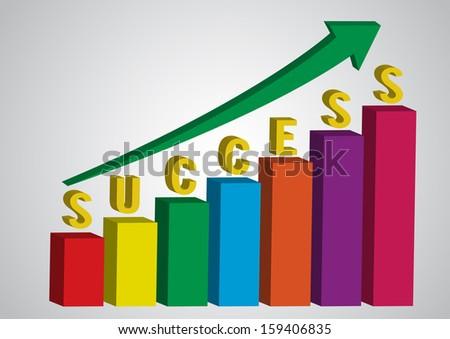Business charts with arrow and success alphabhet, vector illustration - stock vector