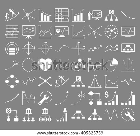 Business Charts With Rectangle Dots vector icons. Style is white flat symbols on a gray background.