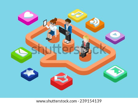 Business chat message, social media user status sharing flat 3d isometric pixel art modern design concept vector. People, callout sign, content app icon. Flat web illustration infographics collection. - stock vector