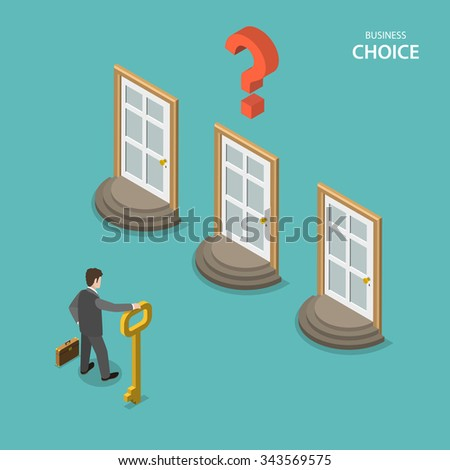Business choice isometric flat vector concept. Businessman is trying to choose a right door to enter it. Choosing a right way to solve a problem. - stock vector