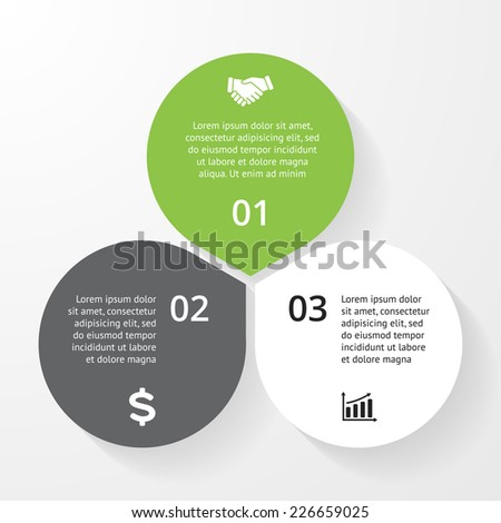 Business circle infographic, diagram, presentation 3 steps - stock vector