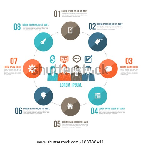 Business circles loop concept with icons and people team. Can use for business planning, business brochure, object business website. - stock vector