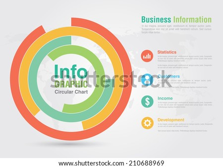 Business circular chart infographic. Business report creative marketing. For your business success. - stock vector