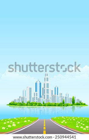 Business City on Island. Green Landscape with road - stock vector