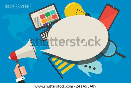 Business cloud marketing concept, vector illustration icons - stock vector