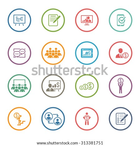 Business Coaching Icon Set. Online Learning. Flat Design. Isolated Illustration. - stock vector