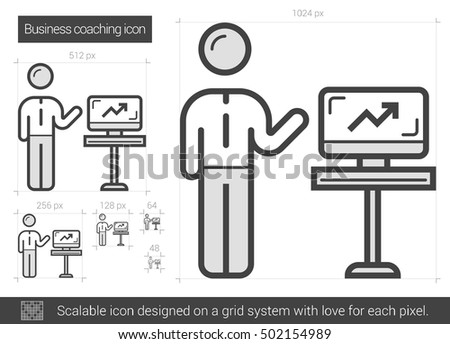 Business coaching vector line icon isolated on white background. Business coaching line icon for infographic, website or app. Scalable icon designed on a grid system.