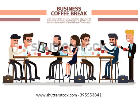 Business coffee break. Coffee break business, people with cup, businessman colleague, vector illustration - stock vector