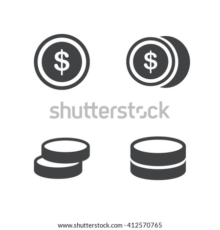 business Coins Icons Set - stock vector
