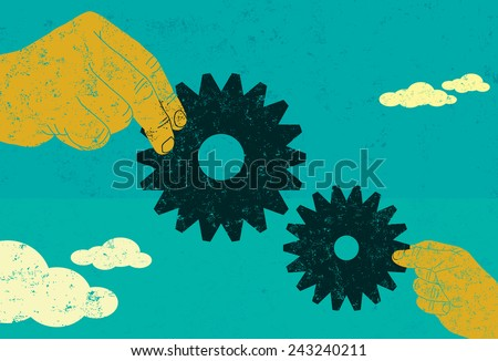 Business Collaboration Two hands connecting gears. A big business and small business working together. The hands and gears are on a separate labeled layer from the background. - stock vector