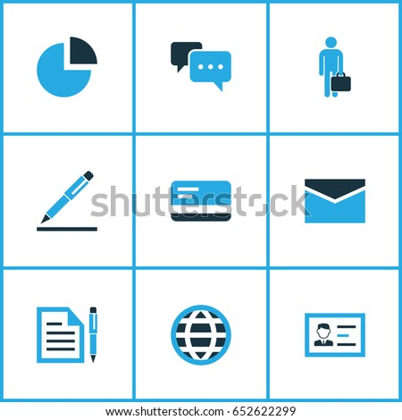 Business Colorful Icons Set. Collection Of Authentication, Dialog, Pie Chart And Other Elements. Also Includes Symbols Such As Bank, Payment, Human.