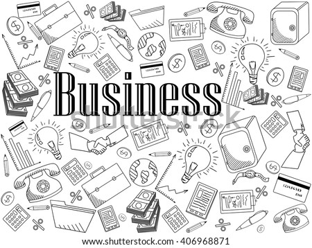Business coloring book line art design vector illustration. Separate objects. Hand drawn doodle design elements. - stock vector