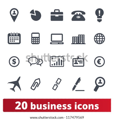 Business, commerce, finance icons: vector set for web - stock vector