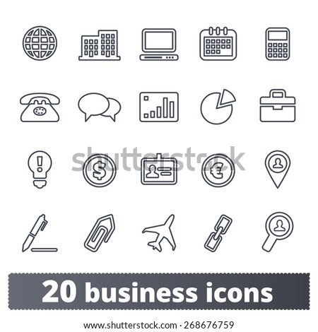 Business, commerce, finance icons: vector set for web. Outline series.