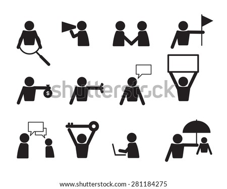 business commercial people icon set vector illustration - stock vector