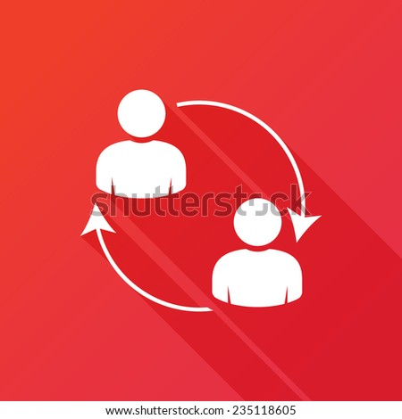 Business communication. Conceptual illustration. Profile users connected icon. Social icons. Men exchanging symbol. Modern flat icon with long shadow effect - stock vector