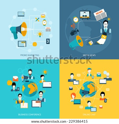 Business communication icons set with promo marketing media news conference online chat isolated vector illustration - stock vector