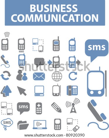 business communication icons, signs, vector illustrations - stock vector