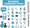 business communication icons, signs, vector illustrations set - stock vector