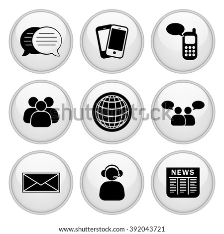 Business & Communication Icons White Glossy Button Icon Set - stock vector