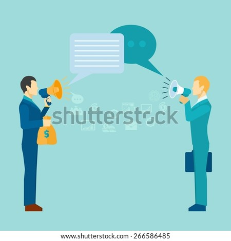 Business communication poster with businessmen talking with loudspeakers vector illustration - stock vector