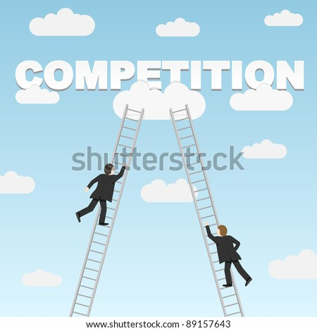 Business competition between two businessmen. Vector illustration. - stock vector
