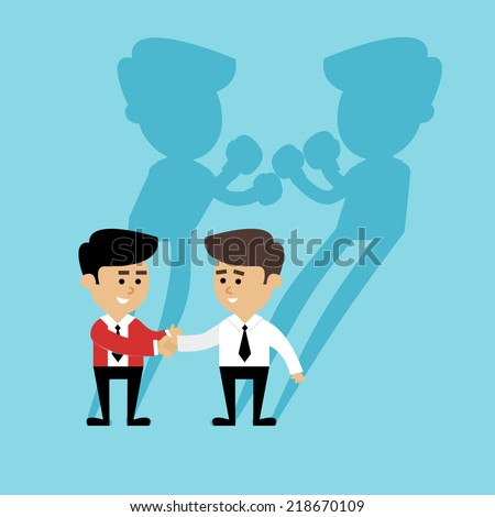 Business competition concept with people handshake and boxing shadow scene vector illustration - stock vector