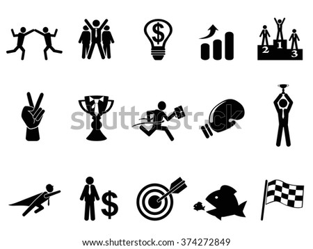 business competition icons set - stock vector