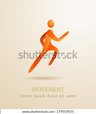 Business concept. Abstract human. Movement symbol. - stock vector