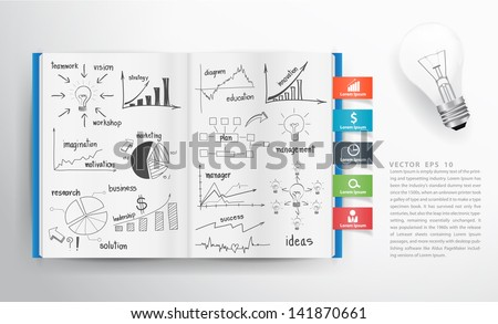 Business concept and graph drawing on book, Vector illustration template design  - stock vector