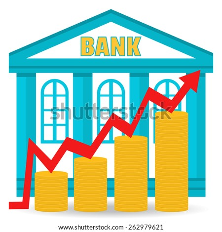 Business concept. Bank deposit growth chart. Income. The building of the bank and coins in stacks. - stock vector