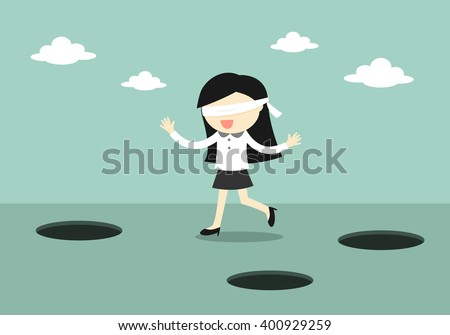 Business concept, Blindfolded business woman is walking. Vector illustration. - stock vector