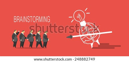business concept brain attack people with a spear in his hand a metaphor brainstorming - stock vector