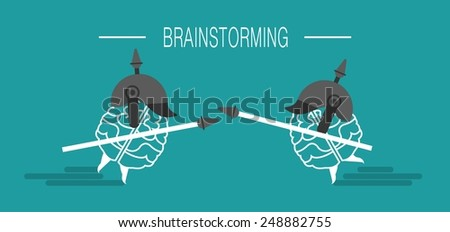 business concept brain attacks the brain with a spear in his hand a metaphor brainstorming - stock vector