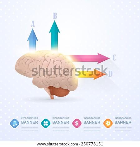 Business Concept Brain Idea, Health or Capacity Infographics Arrow Vector Design - stock vector